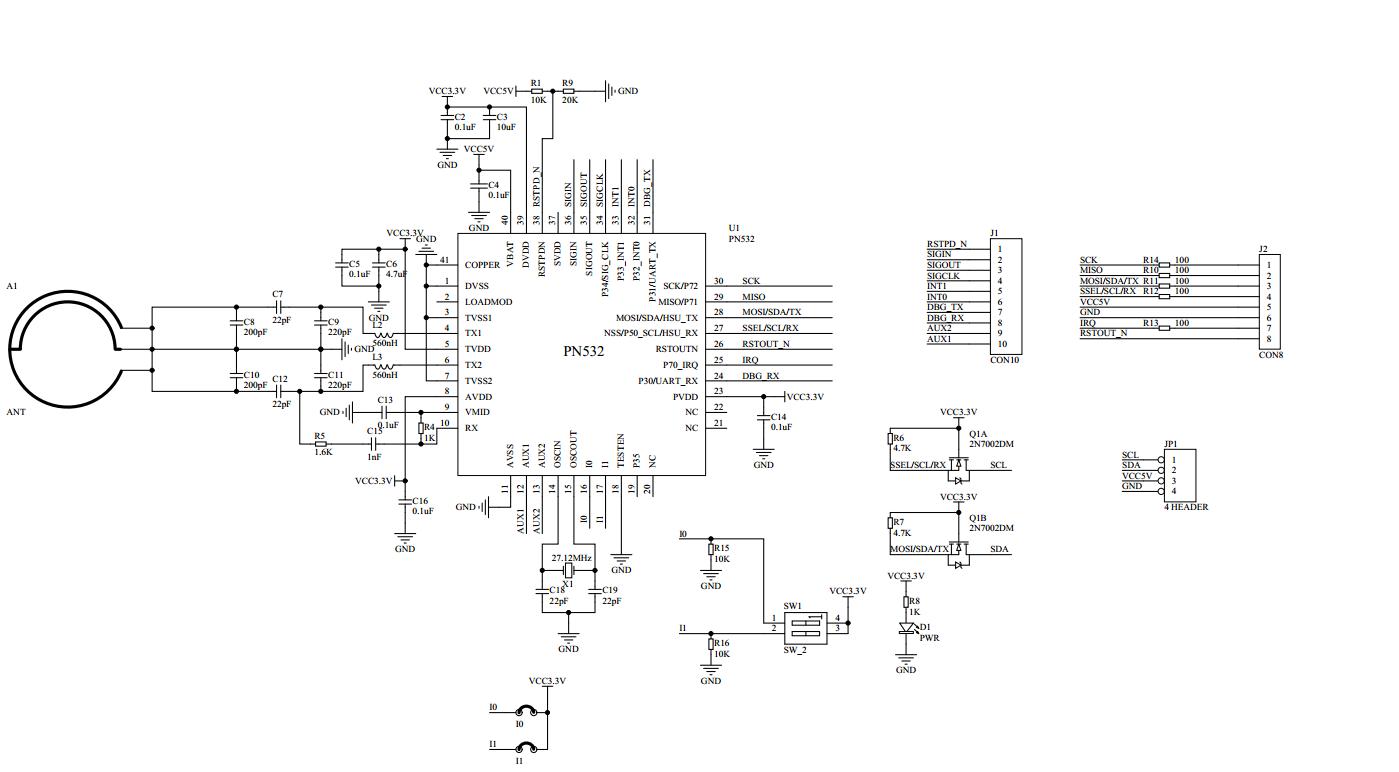 Mạch RFID NFC 13.56Mhz PN532