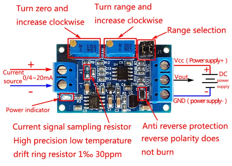 Mạch chuyển tín hiệu dòng áp Current to Voltage 04-20mA to 0-3.3V5V10V HW-685