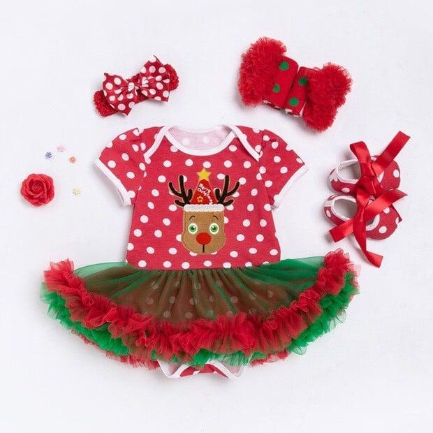Váy ren bi tuần lộc và băng đô trang phục Noel trẻ em