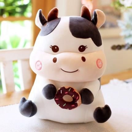 Gấu bông bò sữa ôm bánh 30cm