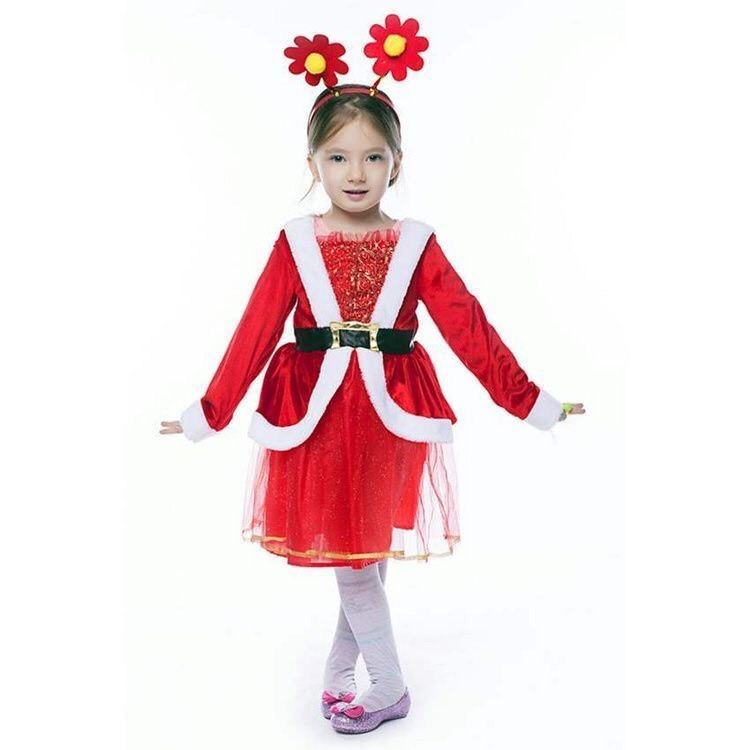 Đầm ren viền kim tuyến hoa trang phục Noel trẻ em