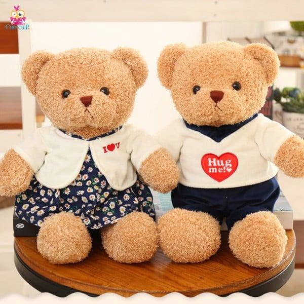 Gấu lông chỉ áo i love u