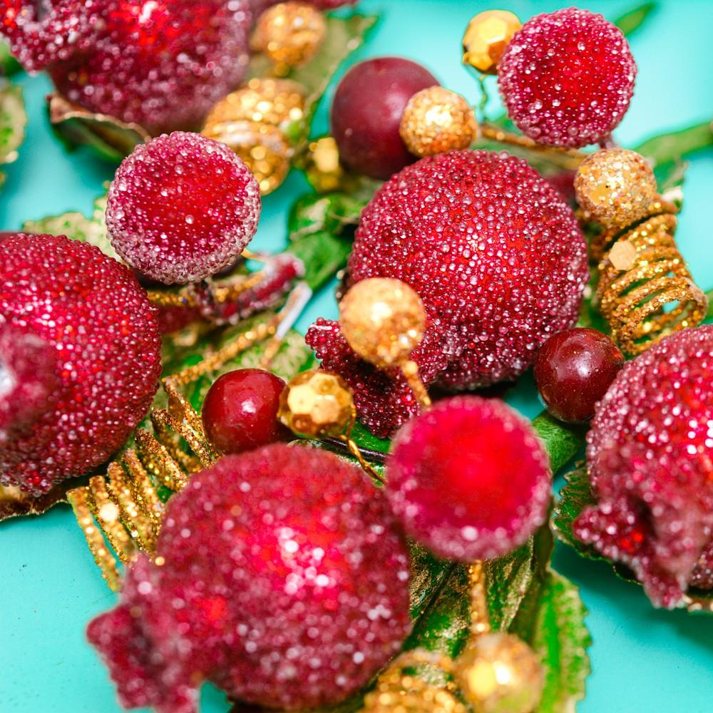 Bịch hoa trái kim tuyến lớn trang trí Noel