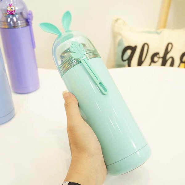 Bình giữ nhiệt tai thỏ xanh lá 350ml