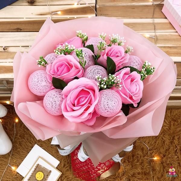 Bó 5 hoa hồng bóng đèn lớn
