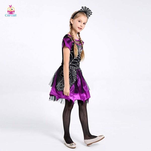 Bộ váy tơ nhện tím bé gái