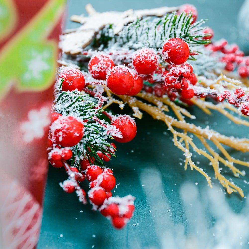 Cành nai gô trái đỏ trang trí Noel