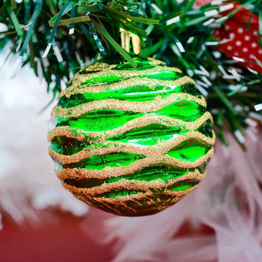 Bộ châu xoắn kim tuyến 60 ly 6 quả trang trí Noel