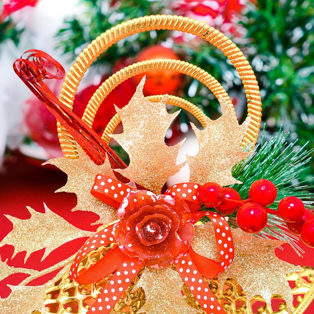 Chuông treo hoa sáp quả đỏ trang trí Noel