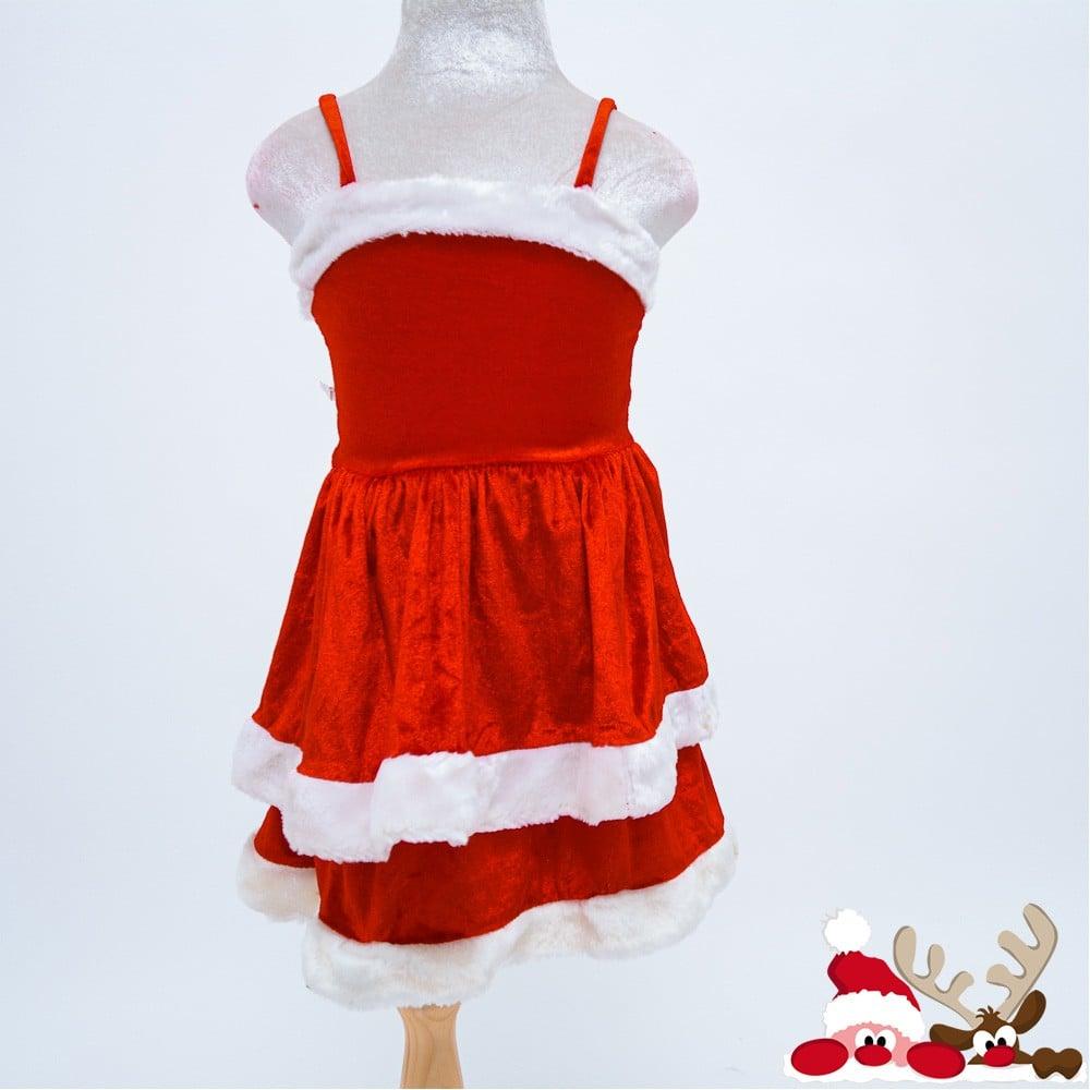 Đầm nhung 2 dây trang phục Noel trẻ em