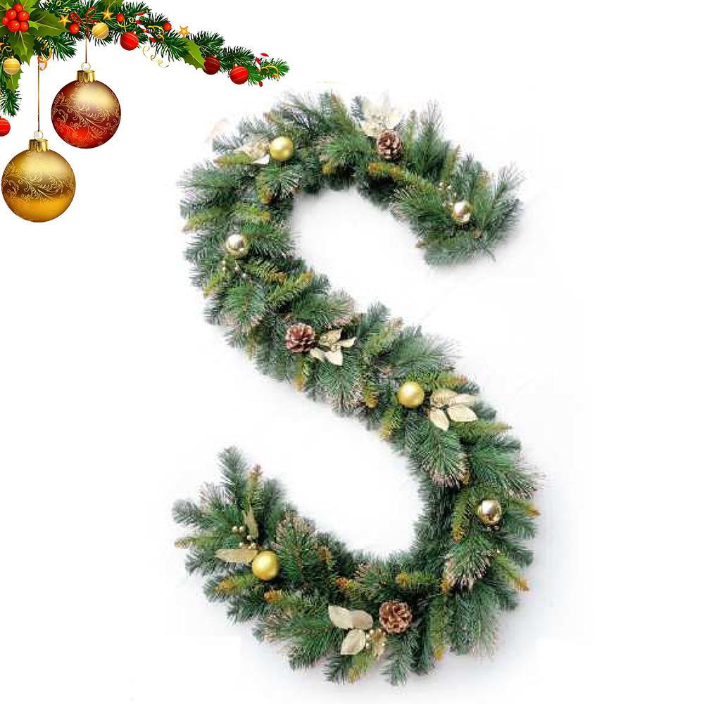 Dây thông trang trí Noel 3 loại lá lăn kim tuyến vàng có trang trí