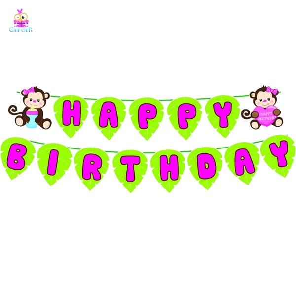 Dây happy birthday khỉ hồng