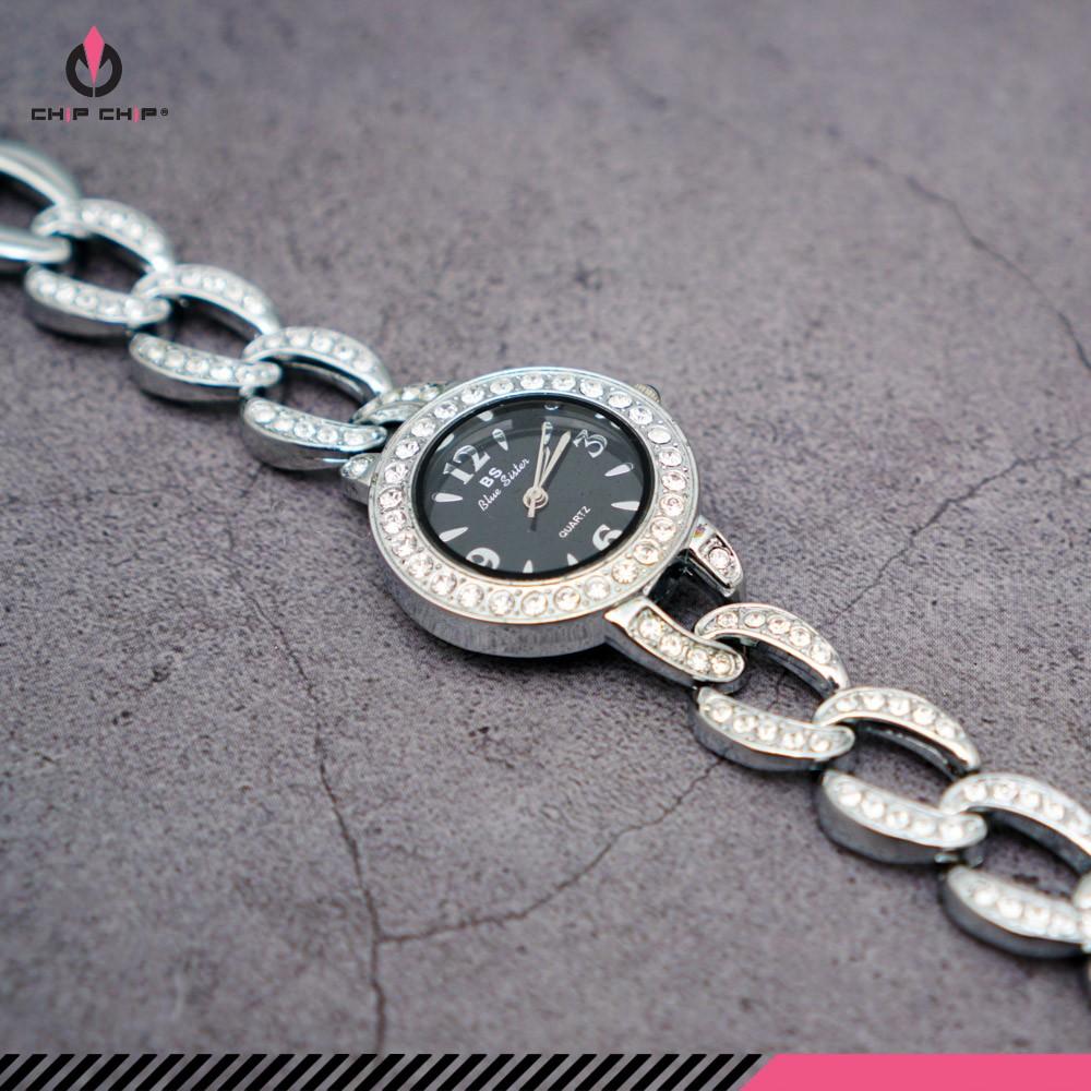 Đồng hồ nữ dây sắt đính hạt mặt tròn nhỏ