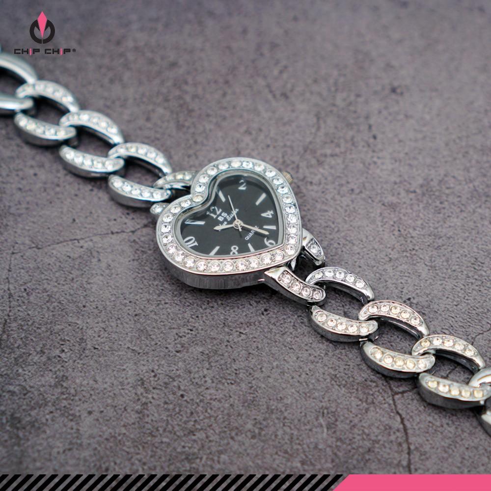 Đồng hồ nữ dây sắt đính hạt mặt nhỏ