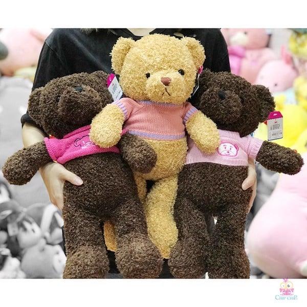 Gấu lông chỉ mang áo gấu hồng 50cm