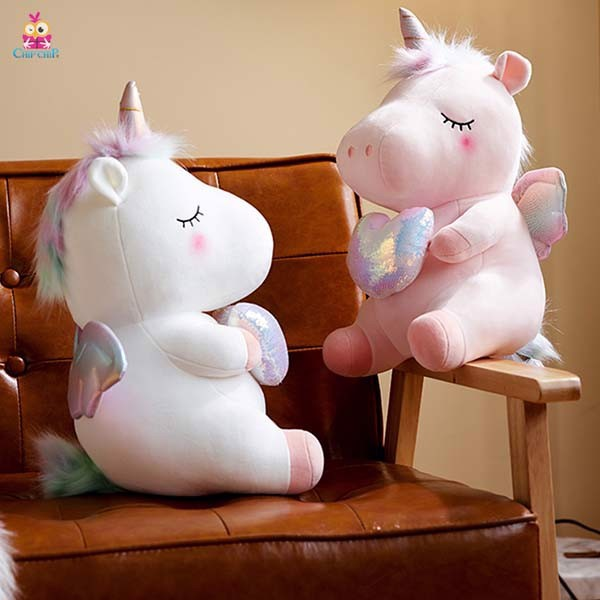 Gối mền Unicorn ôm tim 50cm