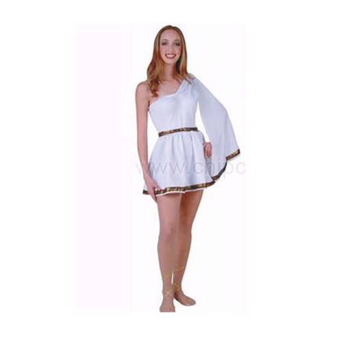 Trang phục hóa trang Halloween nữ váy trắng viền hoa văn lệch vai