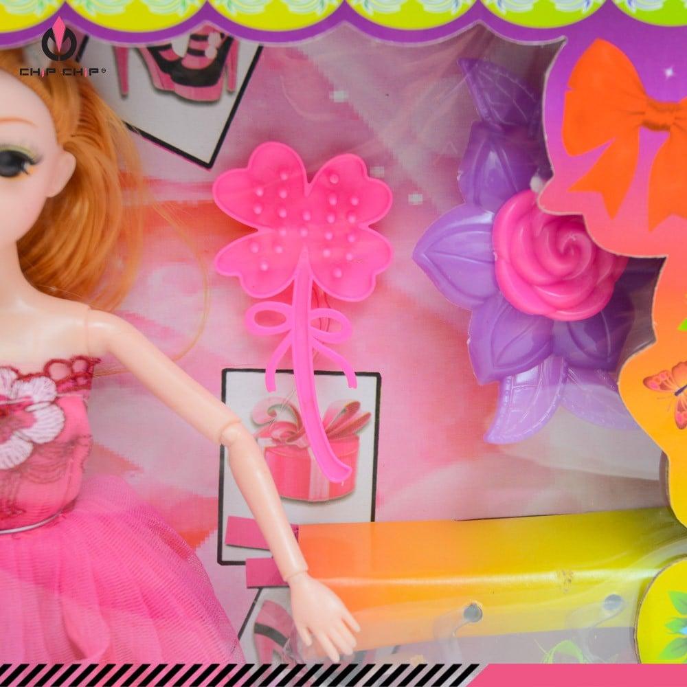 Đồ chơi bé gái hộp búp bê váy hồng vương miện