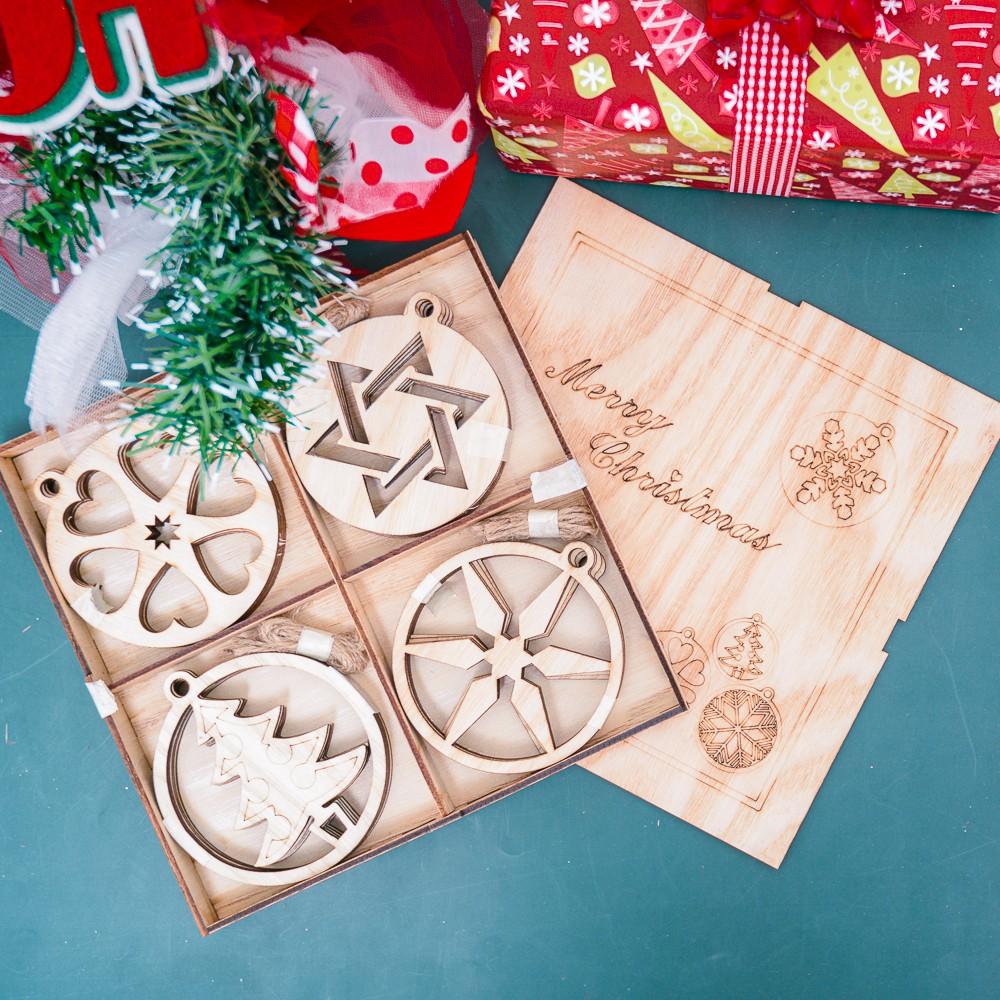 Hộp gỗ cây thông không đèn trang trí Noel