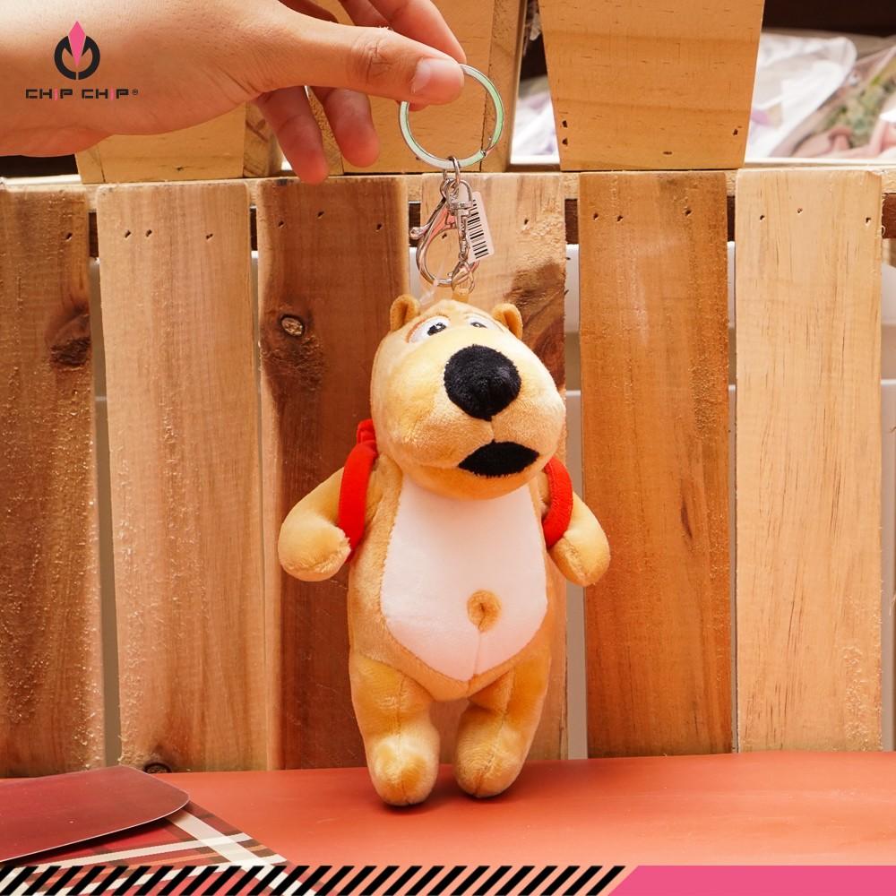 Móc khóa bông chó đeo balo