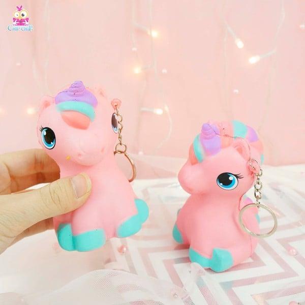 Móc khóa squishy unicorn hồng