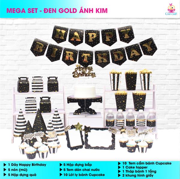 SET trang trí ĐEN GOLD ÁNH KIM