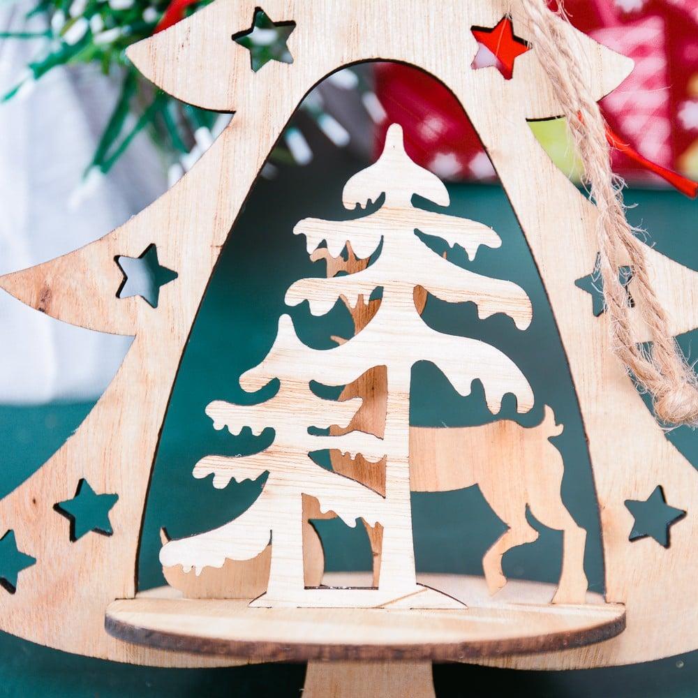 Hộp gỗ tuần lộc cây thông trang trí Noel