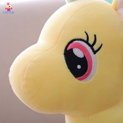 Unicorn vàng tim đứng mịn 35cm