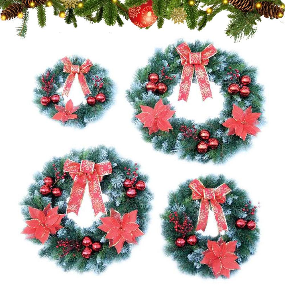 Vòng hoa trang trí Noel 3 loại lá phun sơn