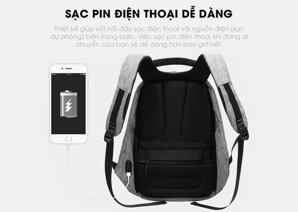 Sạc pin, sạc ipad, iphone với balo
