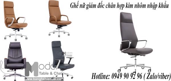 Top mẫu ghế làm việc dành cho giám đốc nữ chân nhôm bọc nệm nhập khẩu