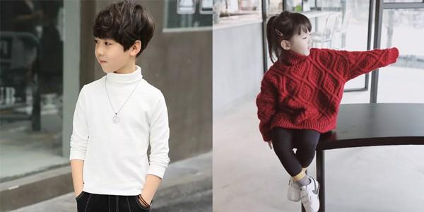 áo len cổ lọ để giữ ấm cơ thể cho trẻ