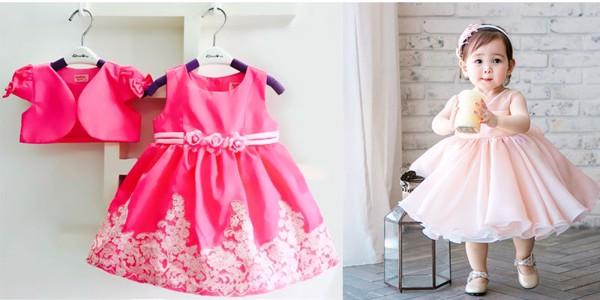 Áo đầm bé gái 1 2 tuổi bằng chất vải xô