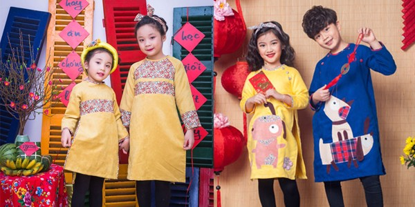 Áo dài diện ngày tết cho các bé gái thêm duyên dáng
