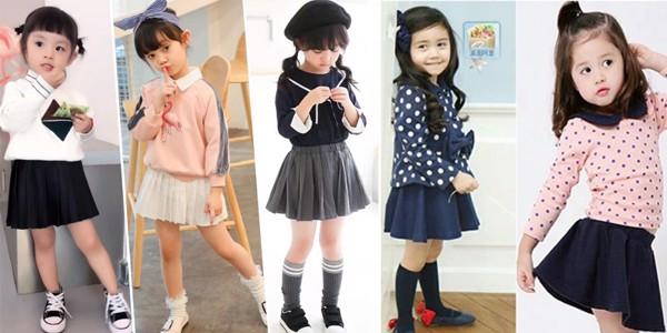 Trong bé vô cùng năng động, dễ thương các mẫu chân váy