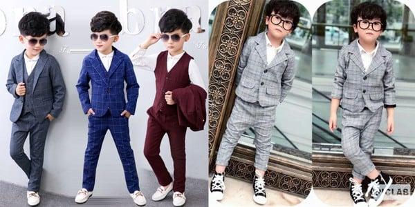 bộ vest cho bé trai vải caro