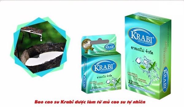 Hộp 3 bao cao su Krabi Siêu mỏng Hương bạc hà