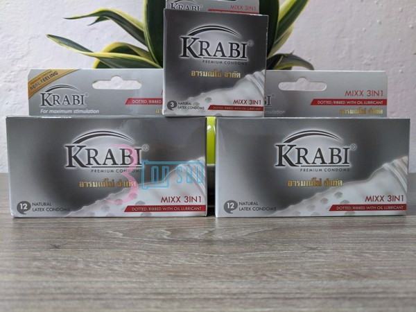Hộp 12 BCS Krabi gân gai gel bôi trơn Mixx 3in1. Mua 2 hộp lớn tặng 1 hộp nhỏ