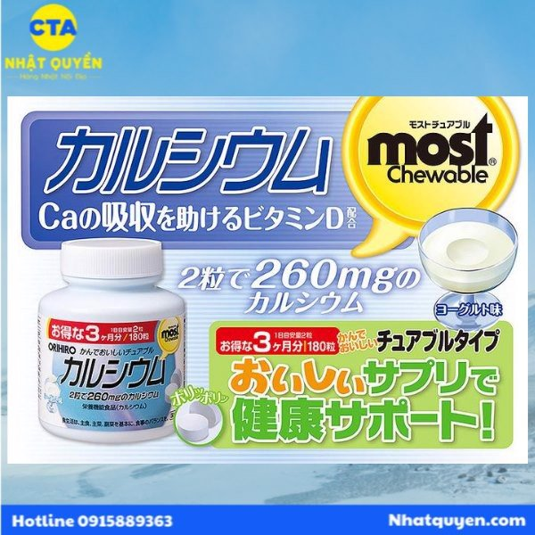Kẹo Most Chewable Orihiro bổ sung Canxi