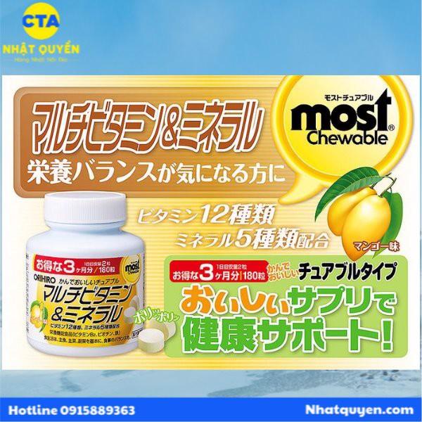 Kẹo Vitamin & Khoáng chất Most Chewable 180 viên