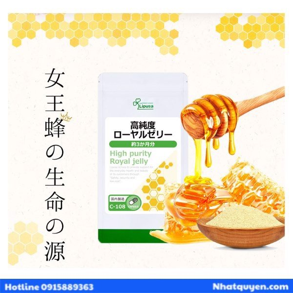 Viên uống sữa ong chúa Lipusa Hight Purity Royal Jelly