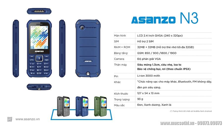 Smartphonestore.vn - Bán lẻ giá sỉ, online giá tốt điện thoại siêu bền Asanzo N3 chính hãng - 09175.09195