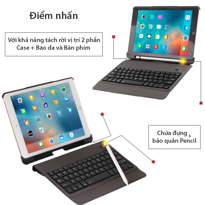 ban phim bluetooth co bao da cho ipad air ipad air 2 ipad new 2018 9.7 inches