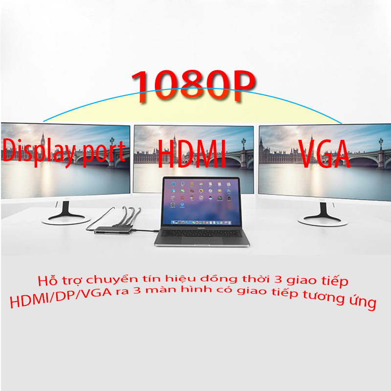 bo chuyen doi da nang displayport ra hdmi/vga/displayport UGREEN 40872