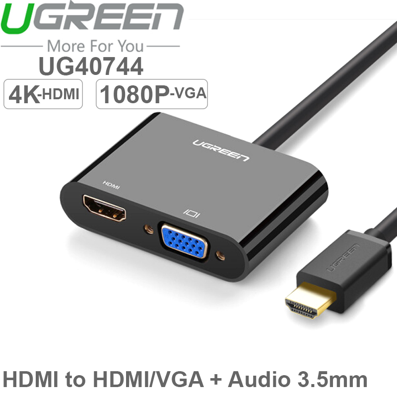 hdmi sang vga + hdmi + audio 3.5mm ugreen 40744