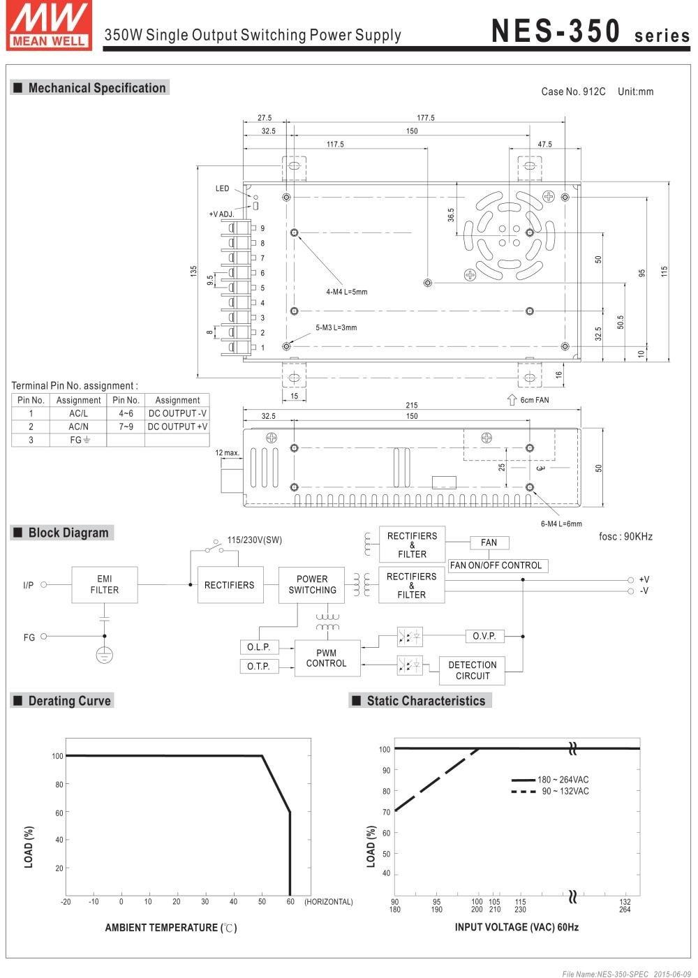 Nguồn DC LED 24V Meanwell NES-350-24 24V 14.6A 350W