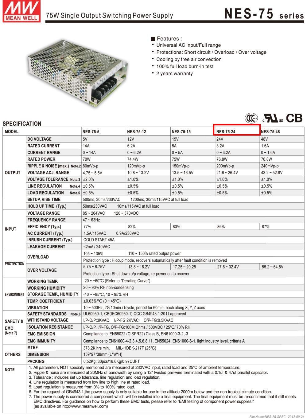Nguồn DC LED 24V Meanwell NES-75-24 24V 3.2A 75W