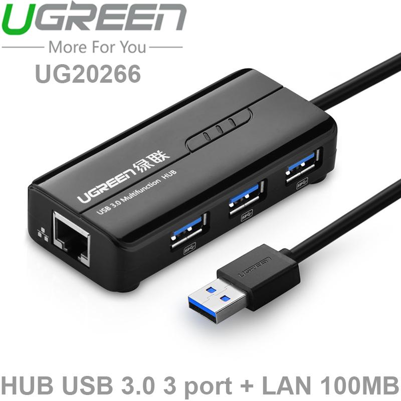 hub chia usb 3.0 3 cong 1 cong lan ugreen 20266