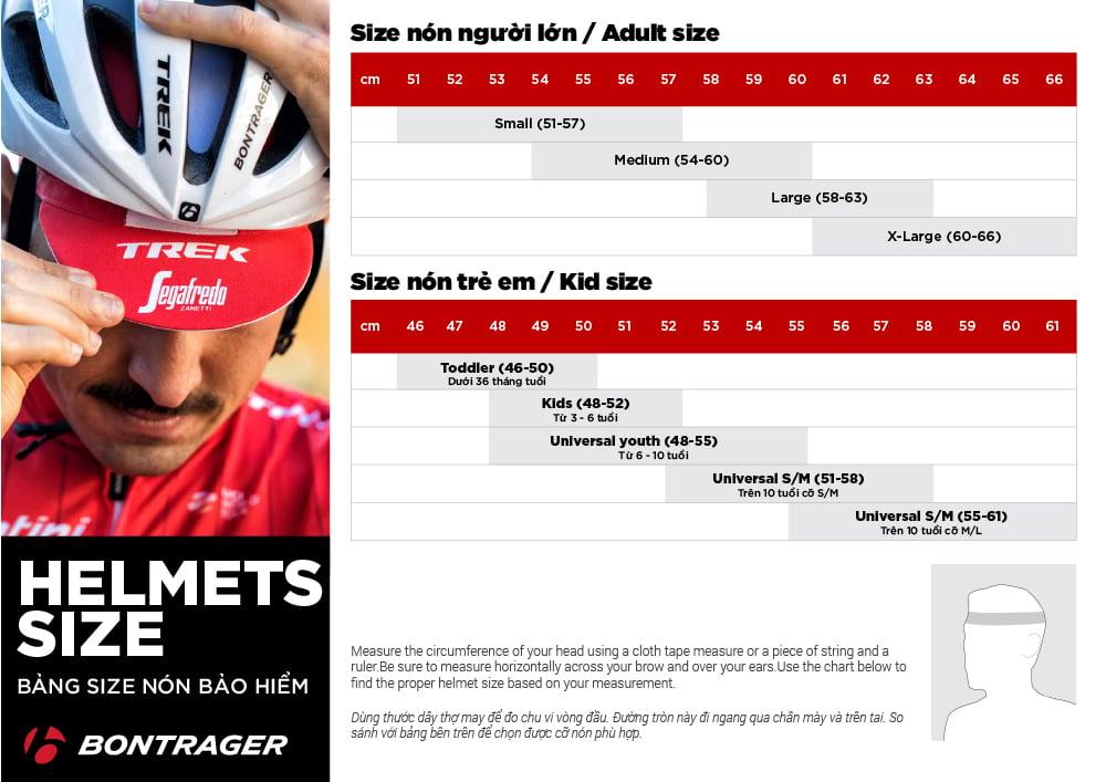 Bảng size nón bảo hiểm Bontrager helmet size chart