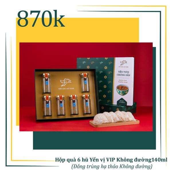 Hộp quà 6 hũ Yến chưng sẵn vị VIP Không đường 140ml